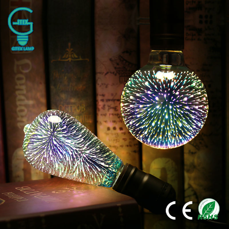LED Light Bulb E27 3D Fireworks Decorative Edison Bulb 220V Party Lamp A60 ST64 G80 G95 G125 Holiday Christmas Decoration Light 3d fireworks led bulb light 220v e27 a60 st64 g80 g95 g125 novelty decoration lamp christmas lighting