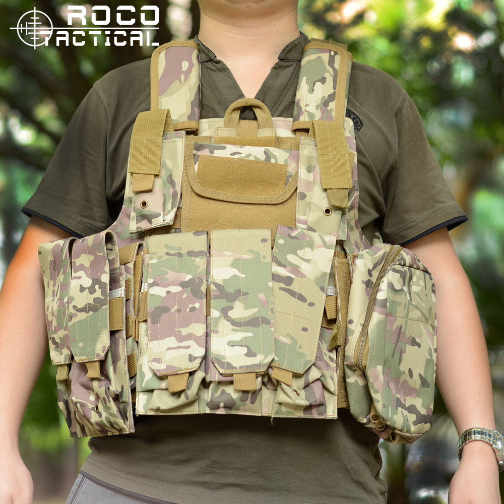 ROCOTACTICAL Ciras Mar Tactical Vest Assault Vest CS Marine US Army Airsoft Vest Molle Combat Strike Plate Carrier W/Mag Pouches