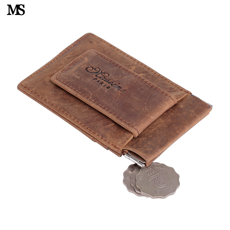MS Vintage Lelaki Crazy Genuine Leather Wallet Business Casual Credit Card ID Holder With Money Magnets Money Clip Coin Coin K121