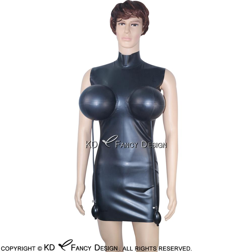 Black Sexy Latex Dress With Inflatable Breasts Zipper At Back Rubber Dress Bodycon Playsuit Plus Size LYQ-0003