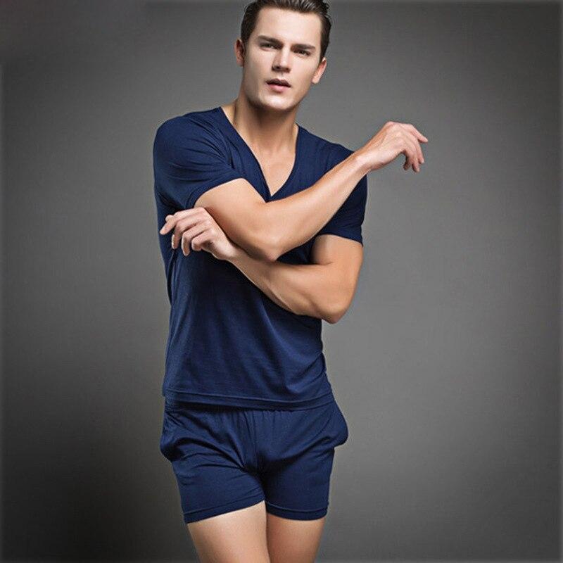Verano 100% algodón sexy pijamas para hombres pijamas hombres Homme color puro pijama conjunto casual pijamas sexy ropa interior masculina