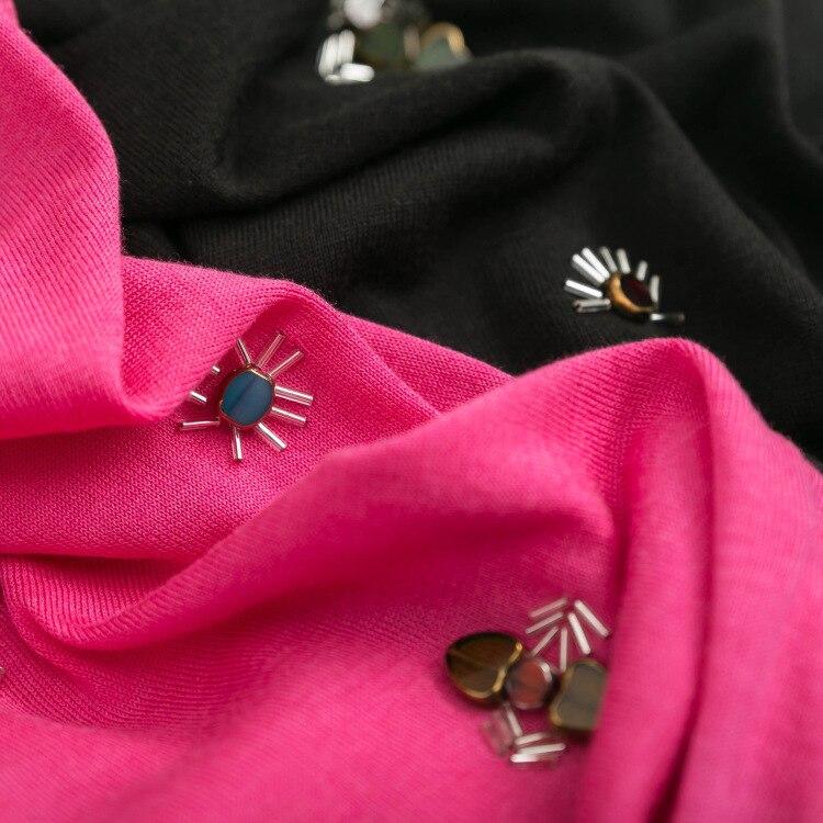 Primavera nueva camisa de mujer de gama alta boutique días seda algodón tejido a mano gema de manga corta suéter camisa de las señoras de la mujer-in Pulóveres from Ropa de mujer    3