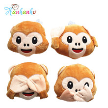 10pcs/lot  15cm WhatsApp No talking/No listenting/No seeing Monkey Emoji Small Pendant Soft Plush Toys Bag Chain Emoji Cushion
