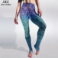Hot Sexy! Mermaid Style Women Leggings Print Gradient Blue Casual Sea Beach Pants Raise Buttock Elastic Slim Fitness Leggings