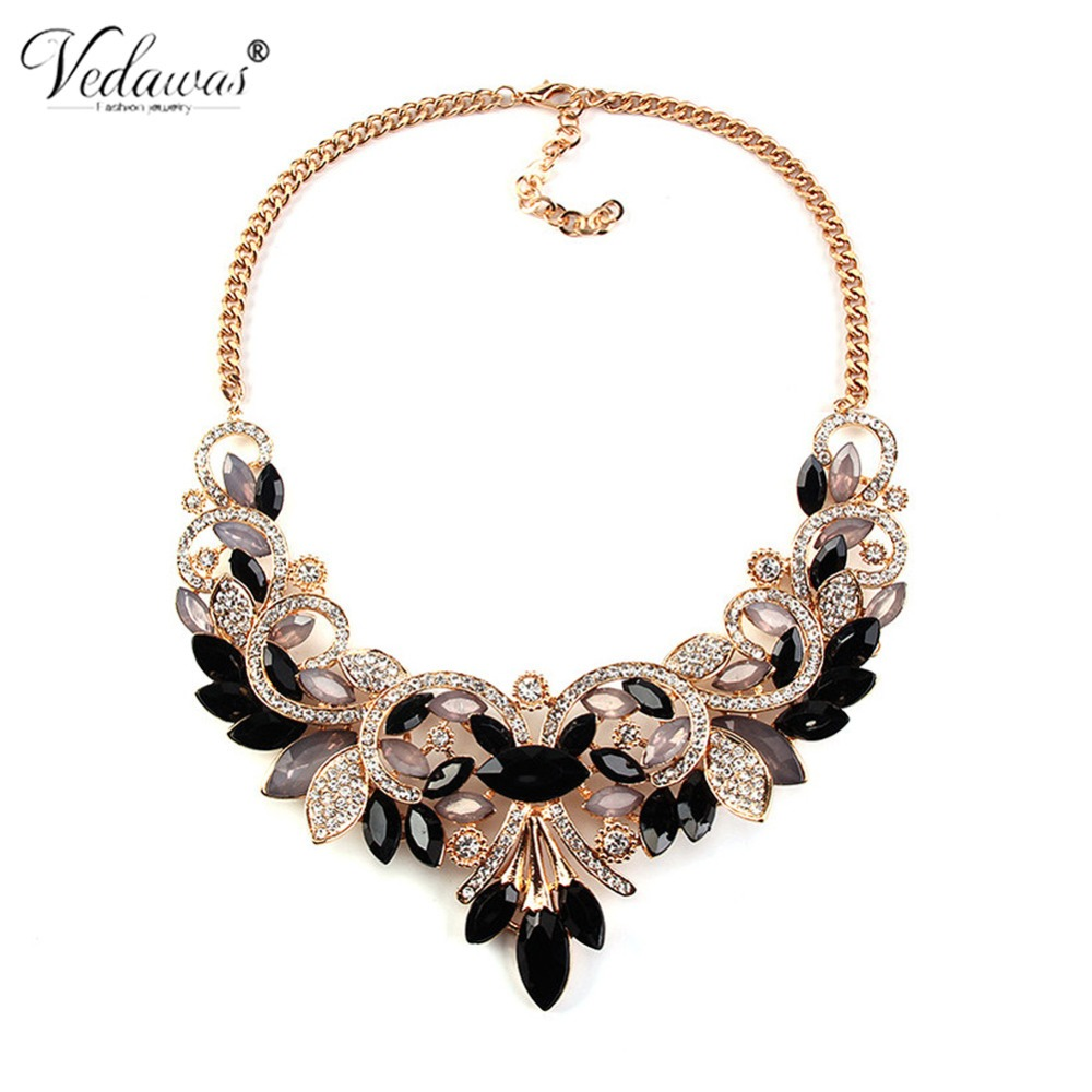 Vedawas Multicolor Handmade Statement Necklace for Women Luxury Crystal Rhinestone Beads Choker Necklace Christmas Gift XG1544 bows rhinestone velvet choker necklace