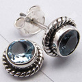 Silver BLUE Topas CUT STONE LATEST STYLE GIRLS' Studs Earrings 0.8 CM NEW