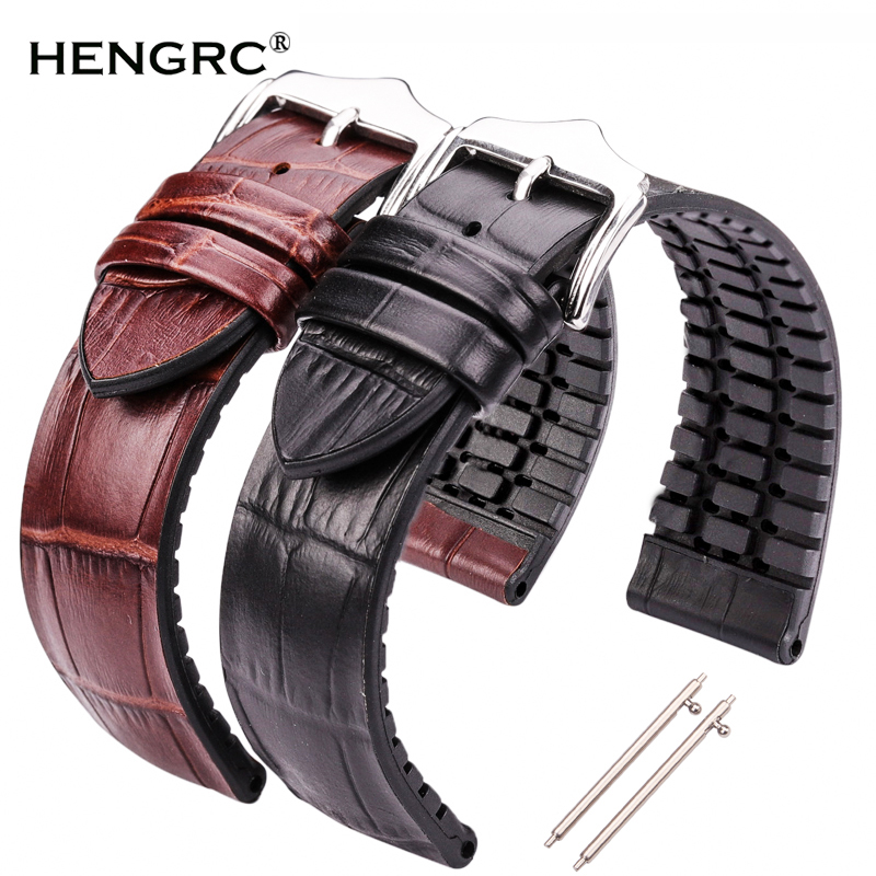 Genuine Leather Watchband Men Women Rubber Silicone Waterproof Breathable Watch Band Strap Buckle Clock Accessories 18 20 22mm