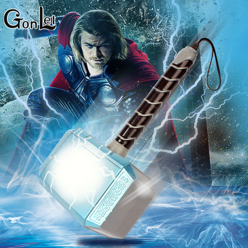GonLeI Avengers Thor's Hammer Toys Thor Custome Thor LED Light music Cosplay Hammer stage property Kids Gift new hot 17cm avengers thor action figure toys collection christmas gift doll with box j h a c g