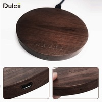 DULCII Qi Wireless Charger Fast Charging Wireless Charger Pad Walnut Wood Chargers For IPhone X 8