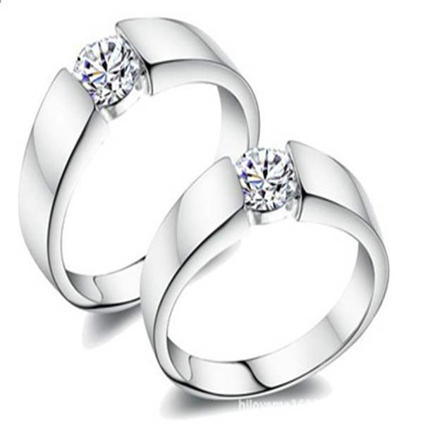 Loving Ring Cz Nice Couple Rings Plated Gold Jewelry Rings Wedding