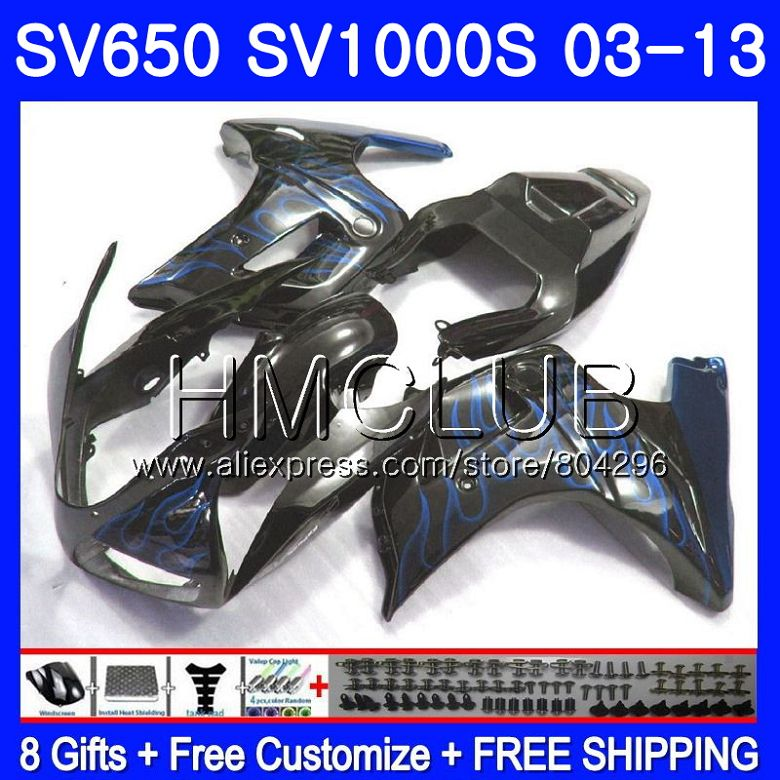 Обтекатель для SUZUKI SV650S SV 650 S 03 09 10 11 12 13 28HM. 21 SV650 1000 S 1000 S SV1000S синим пламенем 2003 2009 2010 2011 2012 2013