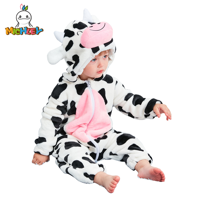 MICHLEY Unisex Baby Hooded Romper Winter and Autumn Flannel Animal Style Newborn Boys Cosplay Clothes Girls Pajamas XYZ-Cow 1