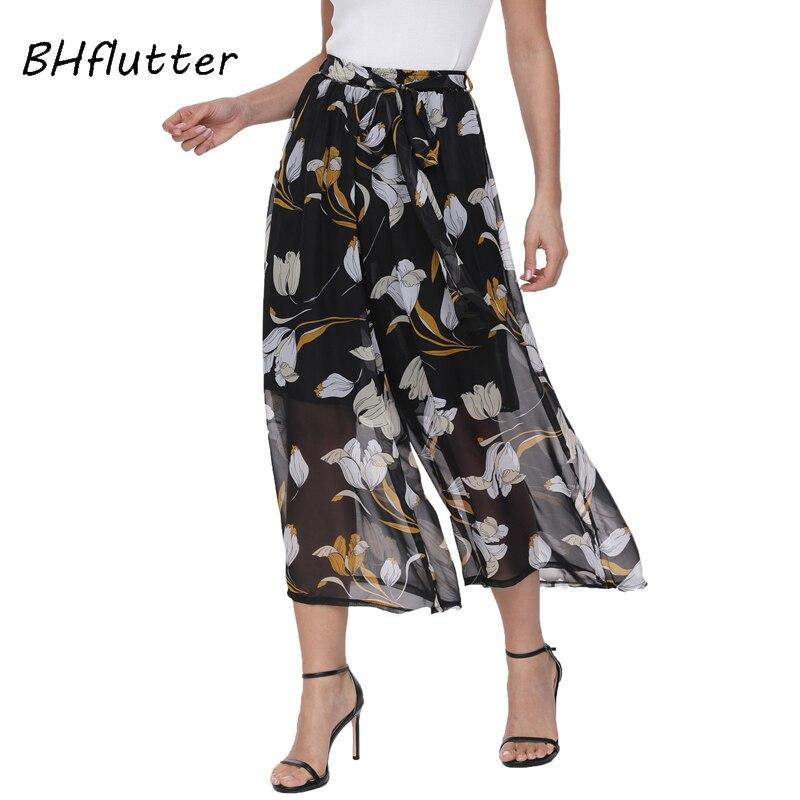 BHflutter 2018 Women Trousers   Capris   Elastic Waist Casual Wide   Pants   Boho Style Chiffon Summer   Pants   Calf Length Pantalon Femme