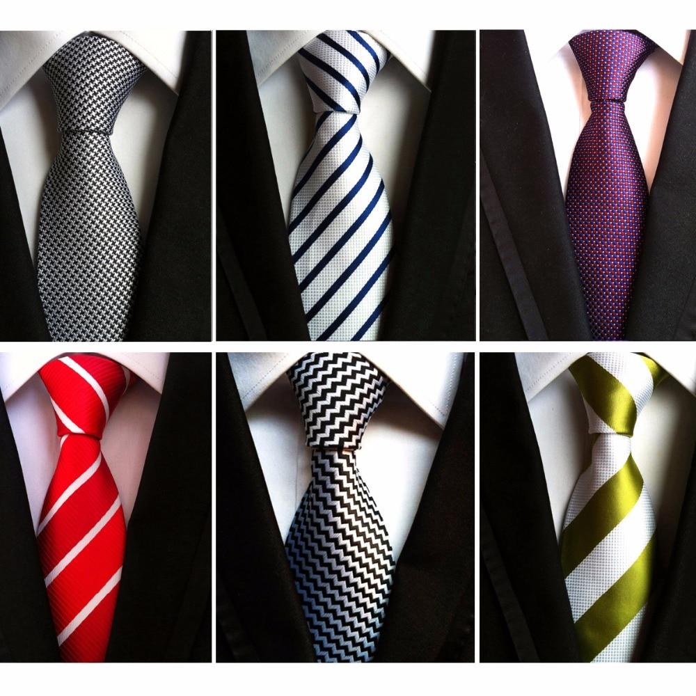 RBOCOTT Men's 8 Cm Fashion White Black Ties Purple Striped Tie Yellow Necktie Red Wedding Neck Tie For Men Formal Business Suit