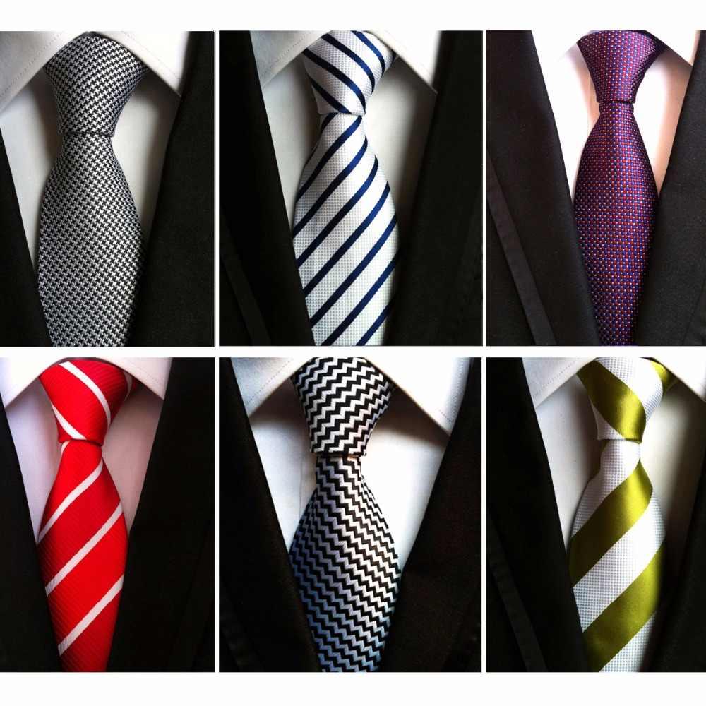 3a3e1f86 Rbott hombres 8 cm moda blanco negro corbatas púrpura rayas corbata  amarilla rojo boda cuello corbata