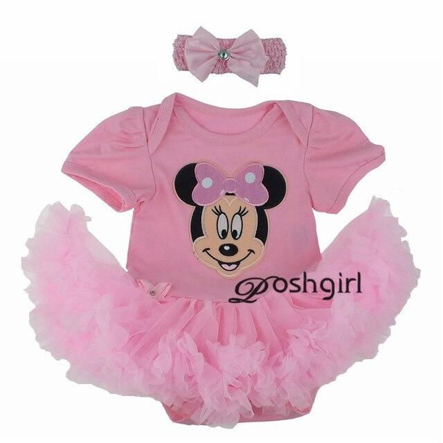2fb93ef3d 2 piezas conjunto bebé recién nacido Primer Cumpleaños Tutu vestido de  algodón mameluco niño Festival trajes