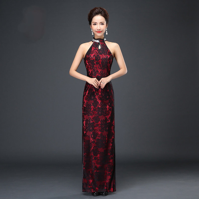 Sexy Backless Cheongsam Traditional Chinese Dress Long Lace Halter ...