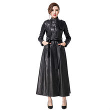 Female Leather Overcoat 2016 Autumn and Winter Fashion Single Breasted Stand Collar PU Leather Jackets Ultra Long Windbreaker