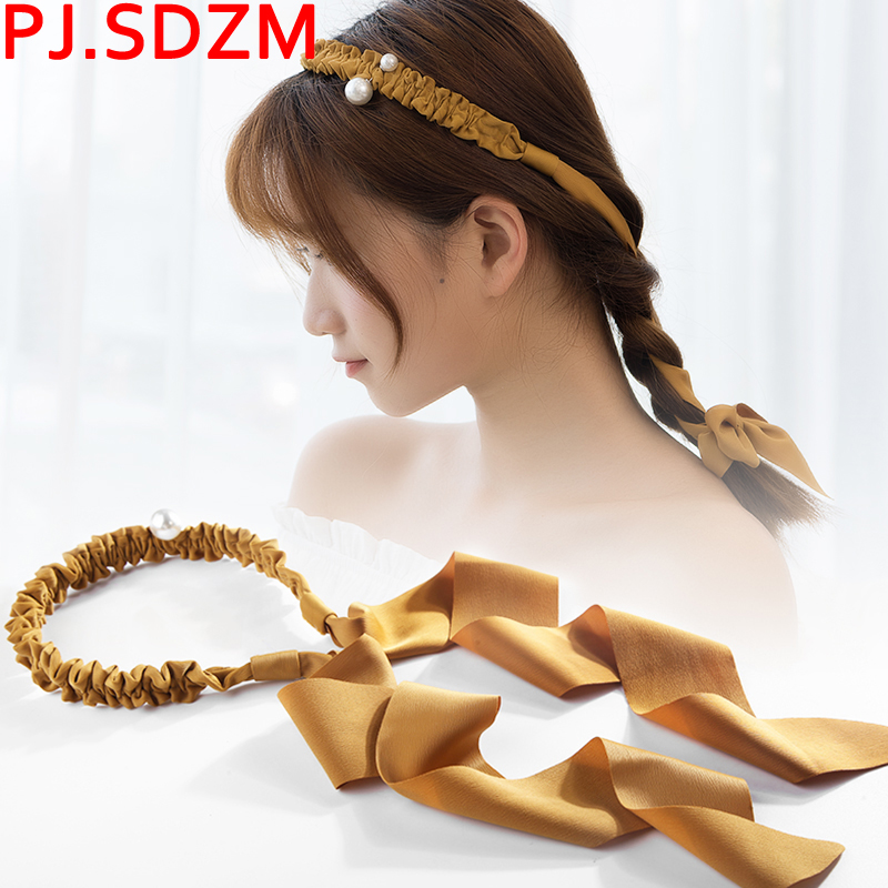 Adjustable Women Long Pearl Hairbands Hand Made Bridal Wedding Hair Accessories Woman Wide Bow Headbands FG0141
