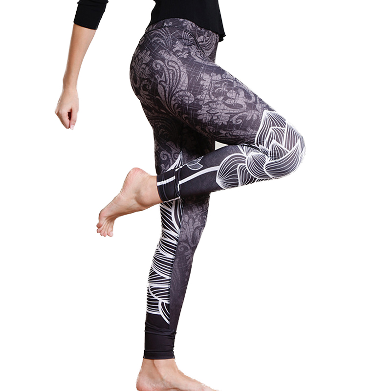 2019 3D New Autumn Women   Leggings   Lotus Mandala Flower Printed Leggins Sexy Black White Fitness Silm Mujer Pencil Pants gaiters