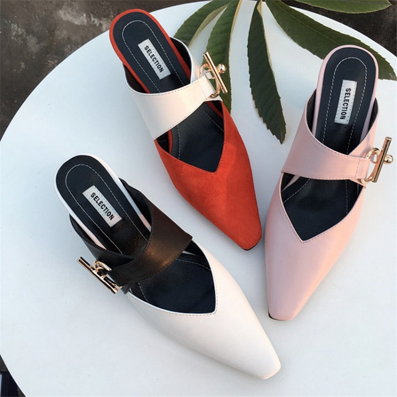 MSSTOR Buckle Womens Slippers Outdoor Mixed Colors Sexy Fashion Thick Heel Mules High Heels Leather Women Summer Slippers 2019