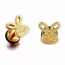 Милые серьги для детей, серьги-гвоздики для девочек, крутые серьги в виде кроличьих ушей, ювелирные изделия для детей, серьги, 1 пара