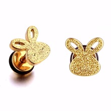 Здесь можно купить  Fashion stud earrings cute rabbit style stainless steel body jewelry charm screw silver gold 1 pair free shipping for women girl