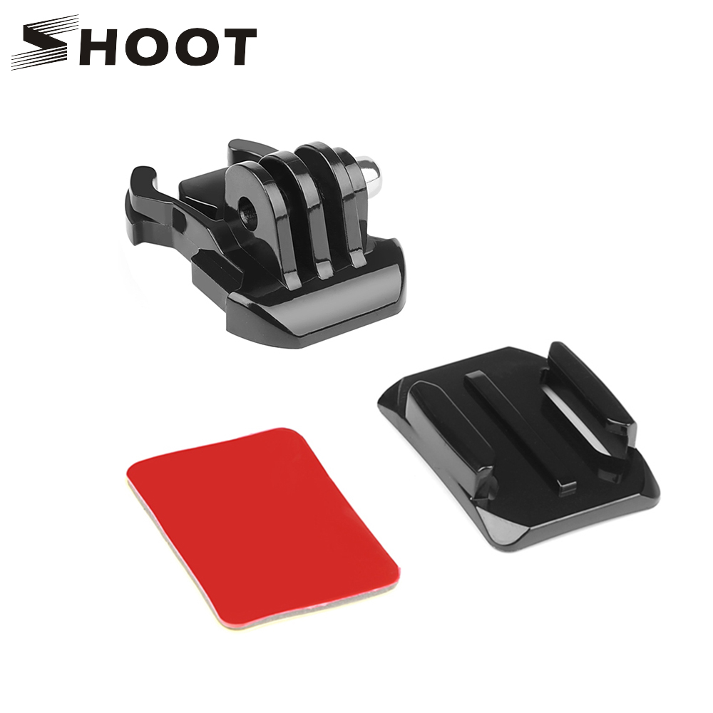 SHOOT Adhesive Sticker With Quick Pull Buckle Curved Surface Helmet Mount For GoPro Hero 8 6 5 7 Black Sjcam Xiaomi Yi 4k Camera