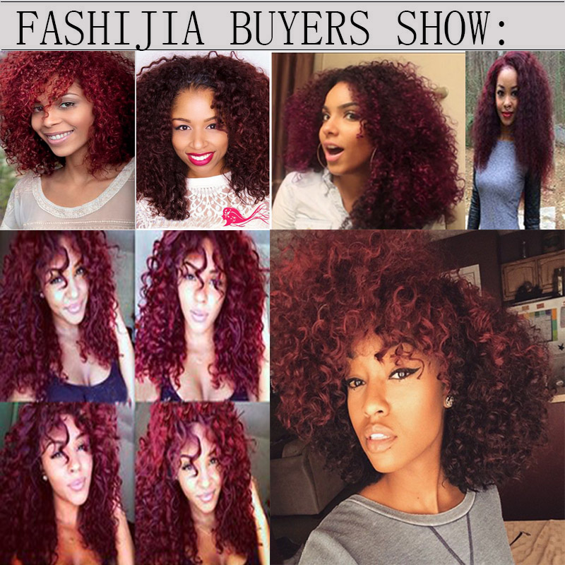 Brazilian Kinky Curly Hair Red 99j Burgundy Wet And Wavy Human Hair