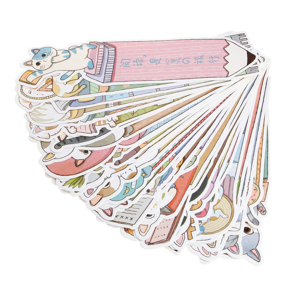 30 Pcs Cat In Book Bookmark Paper Cartoon Animals Bookmark Promotional Gift Stationery Film Bookmark