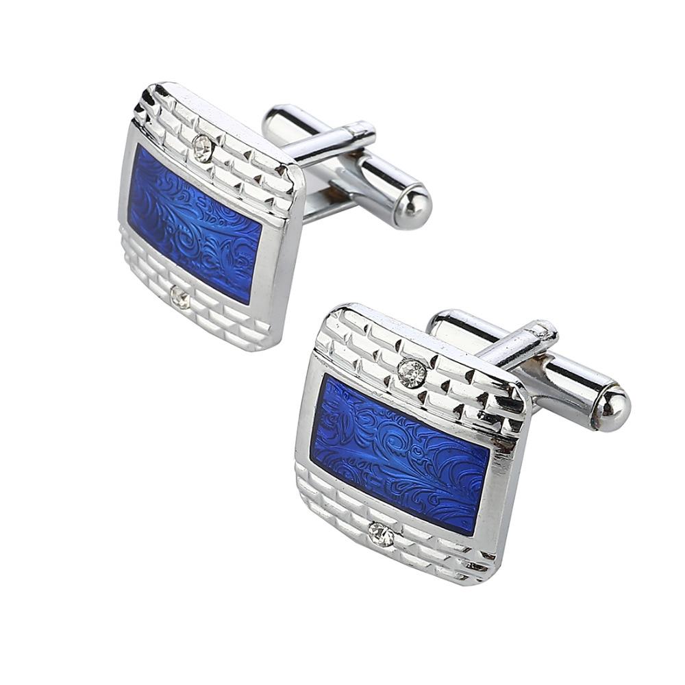 MINHIN Luxury Navy Blue Design Silver Plated Cufflinks Men's Buisness Shirt Accessory Hot Selling Cufflinks blue stripe pattern shirt in sweet design
