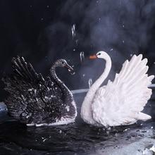 Изысканный обесцвечивание чайные керамические красивые скульптура в виде Лебеди Чай праздничное украшение ремесла бутик сувенир, как подарки на день рождения
