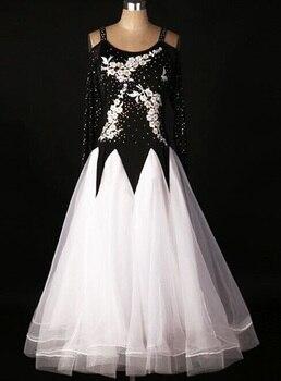 customize Ballroom Dress Black White Waltz Dresses  Ballroom Dress Girl Competition Dresses