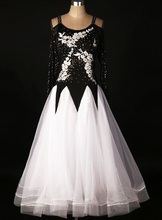 customize  Quick Step Dress  Ballroom Dress Black White Waltz Dresses  Ballroom Dress Girl Competition Waltz Dresses