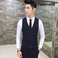 Mauchley 2017 New Man Suit Vest Fashion Slim Fit Thin Grid Plaid Men Waistcoat Tops Slim Business Jacket Men's Fashion Colete