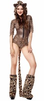 Sexy Animal Cosplay Bodysuit Women Adult Halloween Carnival Costume Zip Teddy Hoodie Cat Leopard Lingerie Cosplay