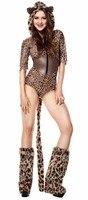 Sexy Animal Cosplay Bodysuit Women Adult Halloween Carnival Costume Zip Teddy Hoodie Cat Leopard Lingerie Cosplay