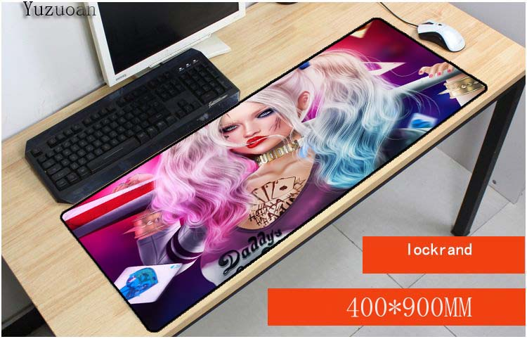 Yuzuoan Cool Batman Harley Quinn Keyboard Desktop Game Large Mouse pad Size 900*400*3MM For LOL DOTA2 CSGO Game Free Shipping