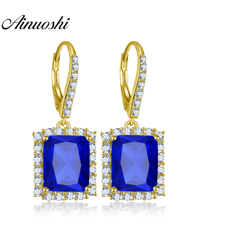 AINUOSHI 10K Solid Yellow Gold Drop Earring 11ct Cushion Cut Deep Blue Color SONA Diamond Women Jewelry Gifts Click Back Earring nkf 11ct r033 3