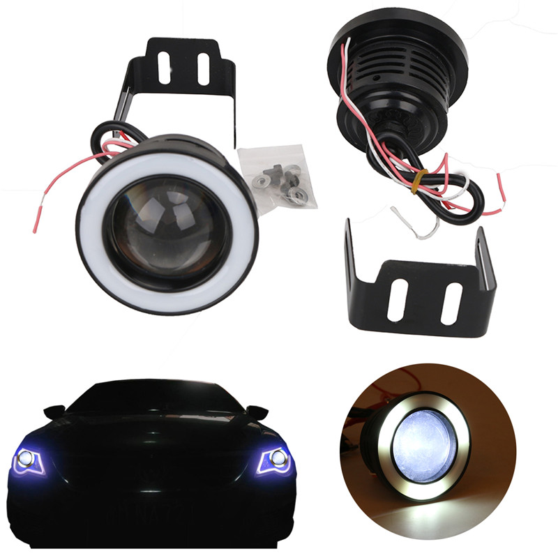 цены  2pcs/lot Universal COB Angel Eye LED Fog Lights Ice Blue Halo Angel Eyes Ring DRL Bulb Flash light For VW 5 For BMW Ect //