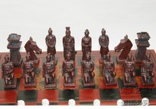 (32 Pieces) Elaborate Chinese Classical Wooden Manual Terracotta Warriors Chess  , With Red Wood Box (Big Size) wholesale cheap new chinese retro chess set terracotta warriors classic large size chess 29 16 9 5cm