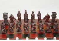 (32 Pieces) Elaborate Chinese Classical Wooden Manual Terracotta Warriors Chess , With Red Wood Box (Big Size)