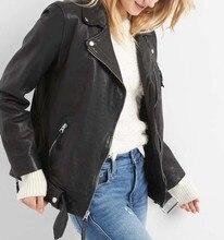 2018 BF boyfriend style women's oversize genuine leather sheepskin coat motorcycle jacket for lady female black plus big size xl