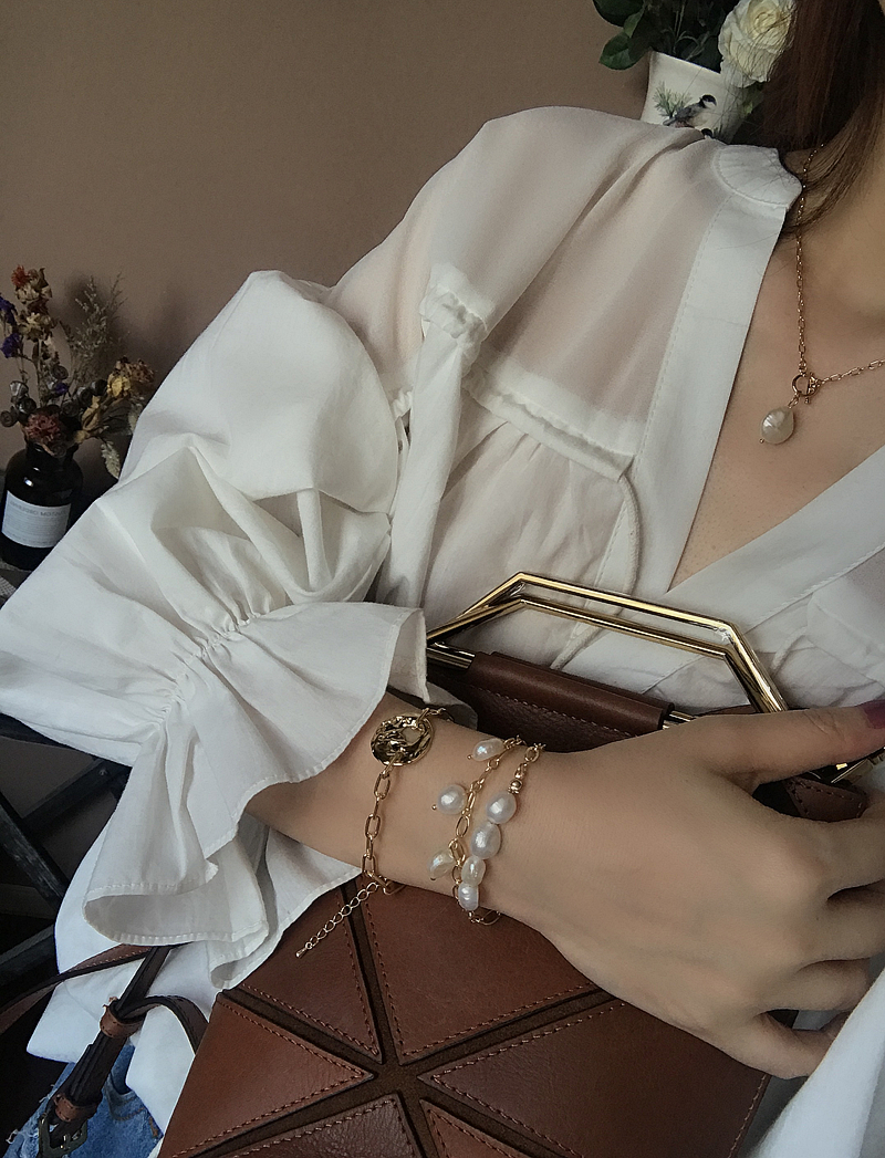 HUANZHI 19 New Gold Color Baroque Irregular Pearls Link Chain Tassel Bracelets for Women Girl Party Bangle Jewelry Gift 4