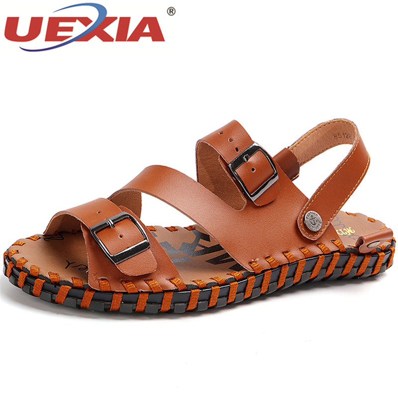 UEXIA Outdoor Mens Shoes Pig Leather Men Sandals Summer Men Shoes Beach Breathable Buckle Gladiator Sandals For Men Zapatillas
