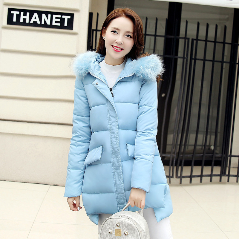 2016 Winter Jacket Women new Faux Fur Collar Hooded Down Parka Female Thicken Warm Outwear plus size Jackets And Coats X816