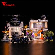 Vonado Legoings 76131 LED lighting Movie avengers Superman Cop Building Blocks Toys Children Only
