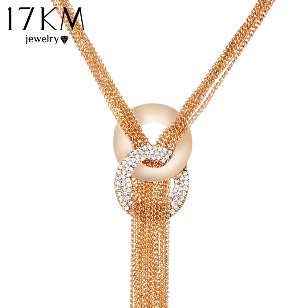 17KM Long Tassel Necklace Pendants Multilayer Women Necklace Gold Plated Crystal Bar Necklaces Statement Maxi Party Jewelry  necklace