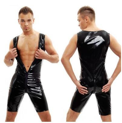 Buy S-XXL Sexy Men 100%PVC Bodysuit Crotchless Latex Catsuit Sexy Wetlook Jumpsuit Gay Male Costume Fetish Leather Bondage Lingerie