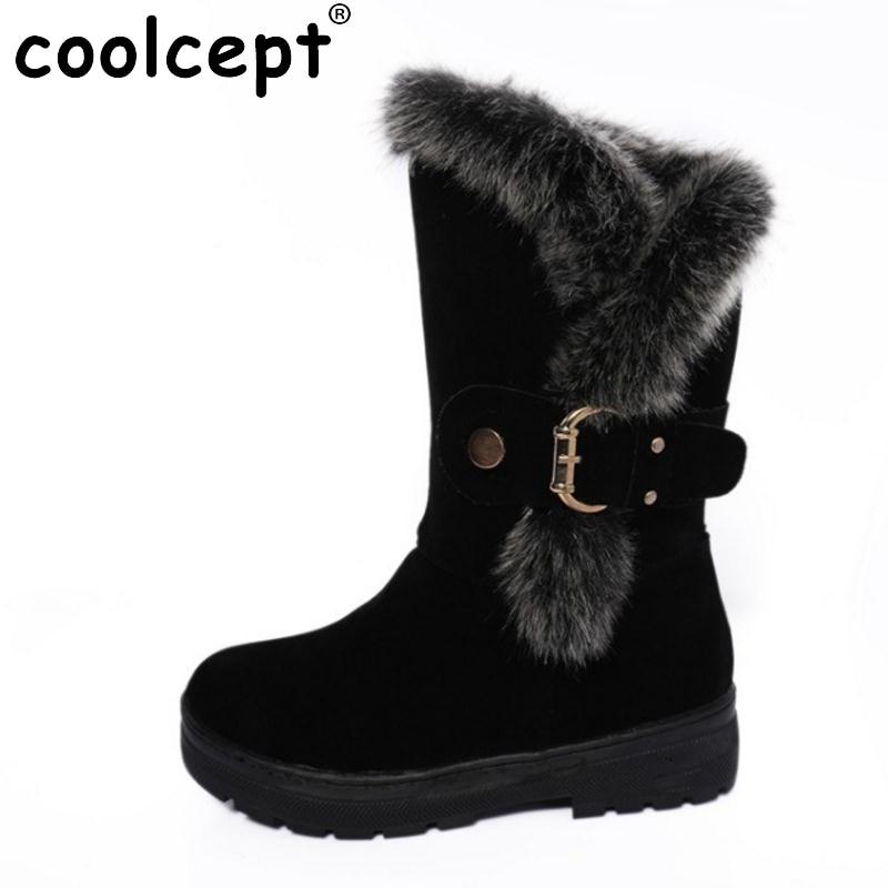 Coolcept Size 36-40 Cold Winter Shoes Women Thick Fur Inside Mid Calf Snow Boots For Women Zip Thick Platform Warm Winter Botas